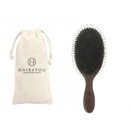 Szczotka z dzika z drzewa sandałowego do włosów przedłużanych + woreczek